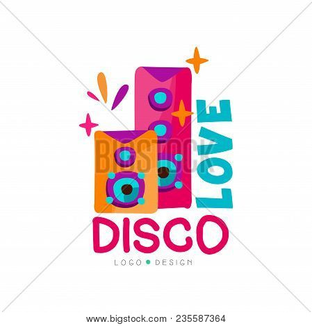 Bright Logo Template With Subwoofers. Love Disco Music. Audio Speakers. Graphic Design For Record St