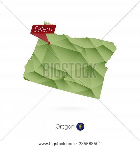 Green Gradient Low Poly Map Of Oregon With Capital Salem