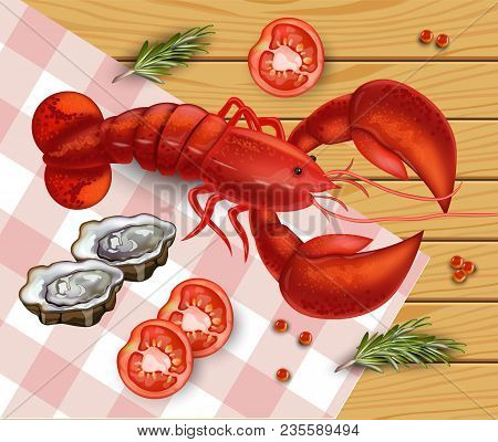 Fresh Lobster Vector. Fresh Detailed Seafood 3d Illustration