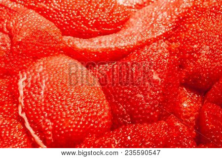 Red caviar. Fresh red caviar on the market on ice.