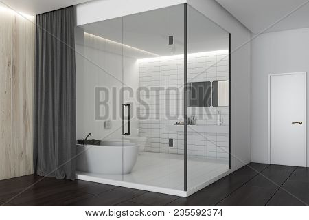 White, Glass And Dark Wooden Wall Luxury Bathroom Interior With A Comfotable Tub. 3d Rendering Mock