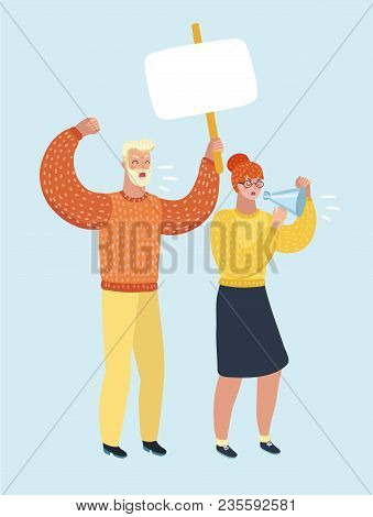 Vector Of Angry Women And Men Protesters Hold Banner And Loudspeaker. Male And Female Characters.