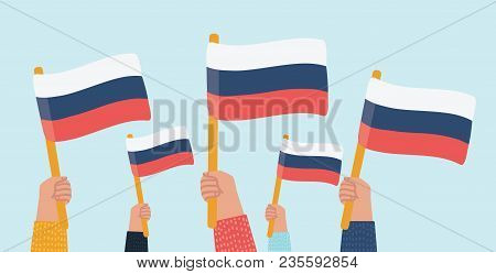 Vector Cartoon Illustration Of Russia Unity Day Demonstration Group. People With Russian Flags In Ha