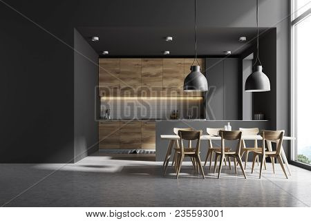 Modern Kitchen Interior With Gray And White Brick Walls, A Concrete Floor And Gray And Wooden Counte