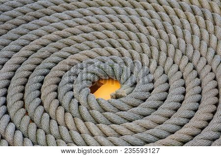 Coiled Naval Rope In Pattern On Ground