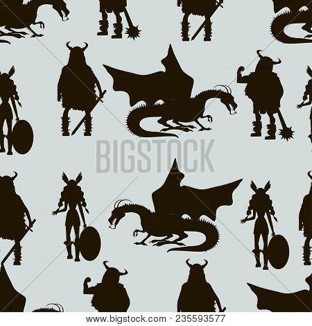 Viking  Characters . Valkyrie, Berserker, Warrior, Old Man, God Odin, God Thor, Drakkar, Dragon, Gir