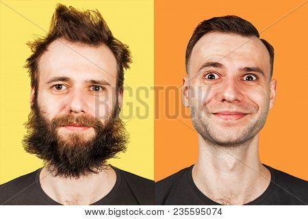 Young Guy With Beard And Without A Beard. Man Before And After Shave. Isolated.
