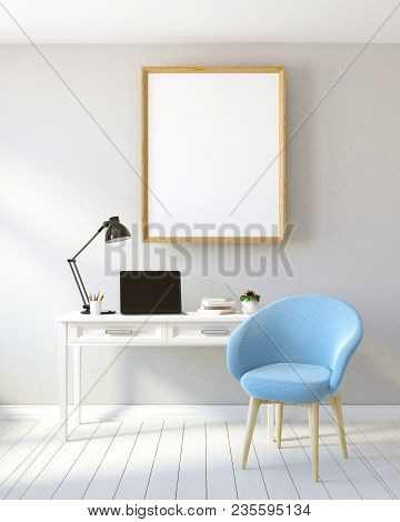 Modern Home Office Interior With White Walls, A White Wooden Floor, A Computer Table And A Framed Ve