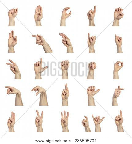 sign language hands collection isolated on white background