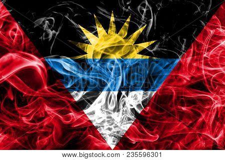 Antigua And Barbuda Smoke Flag On A Black Background