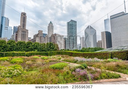 View Of Chicago Cityscape With Skyscrapers From Millenium Park In Cloudy Day, Illinois, Usa