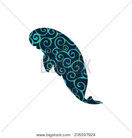 Manatee Mammal Sea Spiral Pattern Color Silhouette Animal. Vector Illustrator.