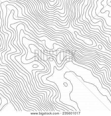 Abstract Black And White Topographic Contours Lines Of Mountains. Topography Map Art Curve Drawing.