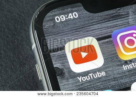Sankt-petersburg, Russia, April 11, 2018: Youtube Application Icon On Apple Iphone X Smartphone Scre