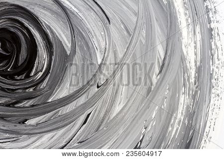 Abstract Brushed Black And White Hand Painted Acrylic Background, Creative Abstract Hand Painted Bac