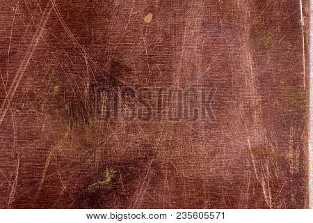 Scratched Copper Plate Texture, Old Metal Background. Cloudy And Scratchy Copper Metal Texture.