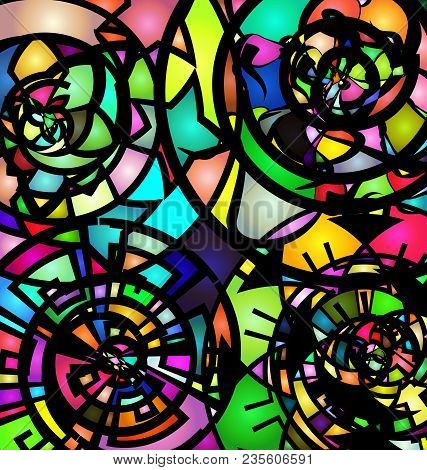 Abstract Colored Image Of Spiral Consisting Of Circles And Figures