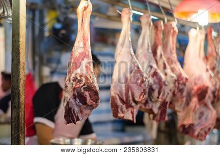 Defocus Shot And Blur Image Of Fresh Mutton In The Market Stall.image May Contain Noise And Grain