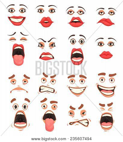 Men Women Cute Mouth Lips Eyes Facial Expressions Gestures Grotesque Comic  Emotions Cartoon Big Set