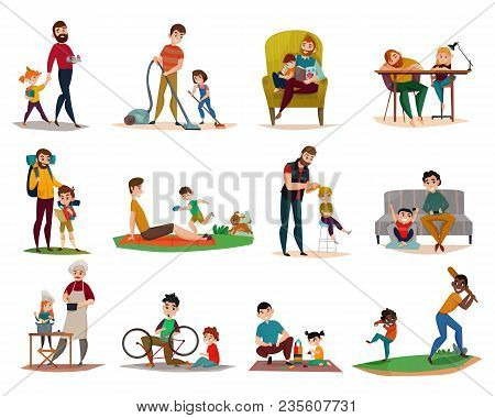 Fatherhood Raising Children, Reading, Cooking, Sport Activity And Games, Housework, Set Of Icons Iso