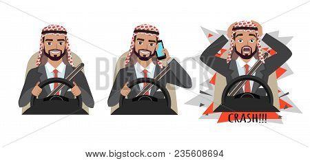 Arab Businessman Driving A Car. Man Driving A Car Talking On The Phone. The Man Had An Accident. Cra