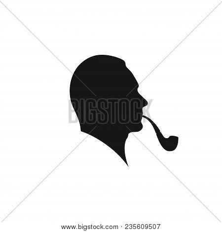 Man Smoking A Pipe. Profile Of A Man Smoking A Pipe. Smoking Man Silhouette. Vector Illustration