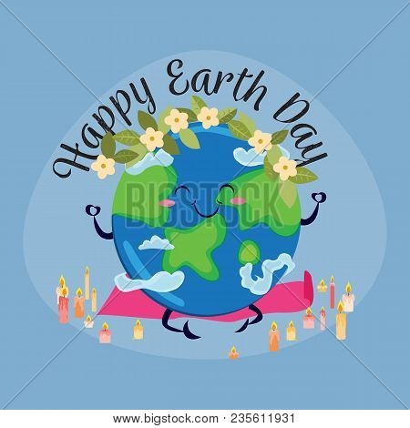 Earth Day, Planet Sits On Rug For Yoga And Meditates In Lotus Pose Surrounded By Burning Candles, Ec