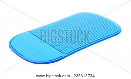 Blue non slip silicone pad isolated on white