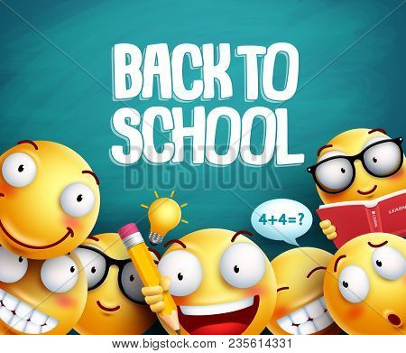 Back To School Smileys Vector Design. Yellow Student Emoticons With Facial Expressions Studying In G