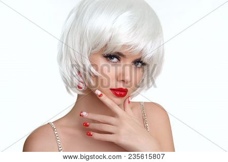 Christmas Makeup And Manicured Nails. Beautiful Blond Girl Closeup Portrait. Jewelry. White Short Bo