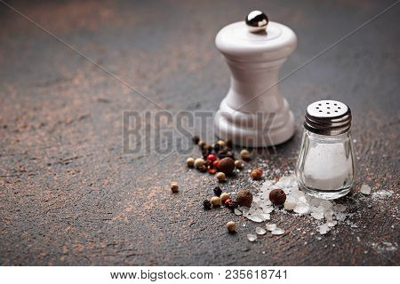 Salt And Pepper. Culinary Background. Selective Focus