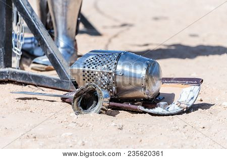 Equipment Knight - The Participant In The Knight Festival - Shield, Sword, Helmet And Glove Lie On T
