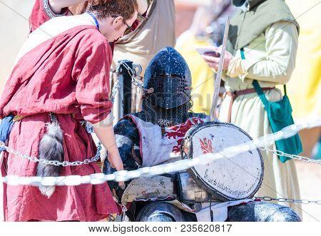 Goren, Israel, April 06, 2018 : Knight - A Participant In The Knight Festival Resting In The Corner