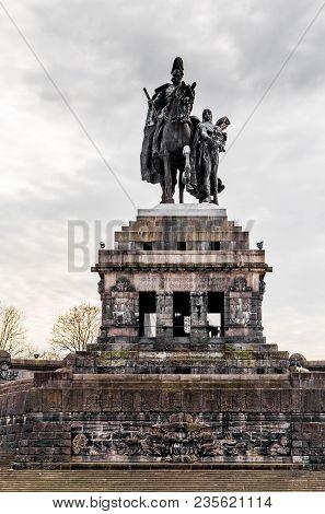 Kaiser Wilhelm Memorial Deutsches Eck In Koblenz Rhineland-palatinate Germany.