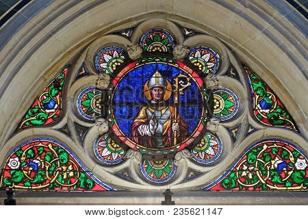 PARIS, FRANCE - JANUARY 09: Saint Germain martyr, stained glass window from Saint Germain-l'Auxerrois church in Paris, France on January 09, 2018.