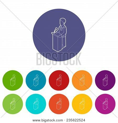 Orator Speaking From Tribune. Outline Illustration Of Orator Speaking From Tribune Vector Icons Colo