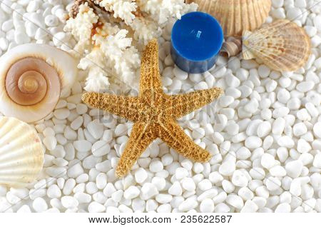 sea shell,starfish ,blue candle lying on white stones