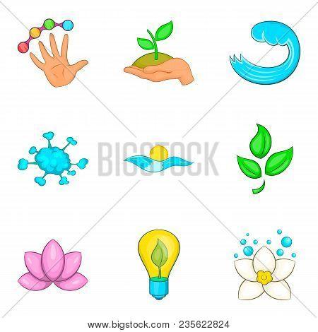 Water Supply Station Icons Set. Cartoon Set Of 9 Water Supply Station Vector Icons For Web Isolated