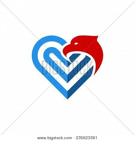 Heart Eagle Head Logo.heart Eagle Head Icon Modern Symbol For Graphic And Web Design.heart Eagle Hea