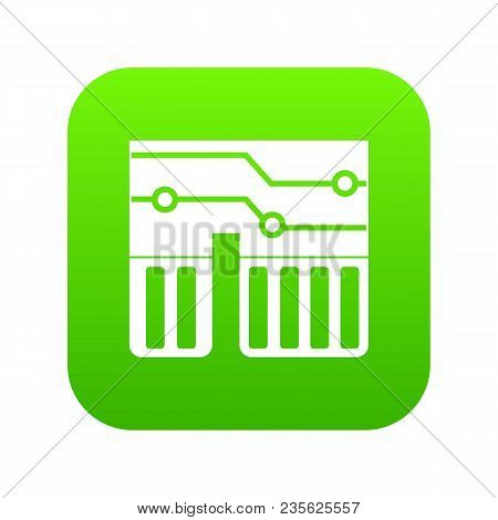 Computer Chipset Icon Digital Green For Any Design Isolated On White Vector Illustration