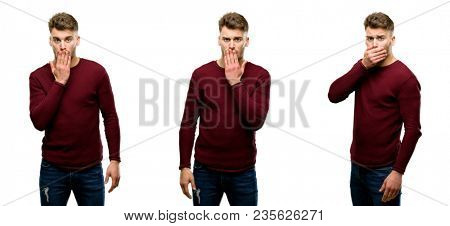 Handsome blond man covers mouth in shock, looks shy, expressing silence and mistake concepts, scared isolated over white background