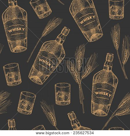 Vector Whisky Hand Drawn Seamless Pattern. Vintage Hand Drawn Elements.