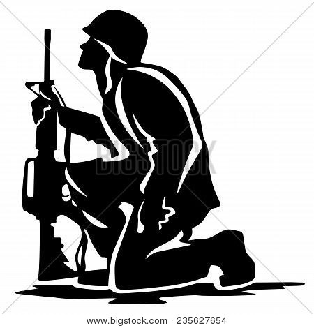 Kneeling Soldier Looking Upward Holding Rifle, Solemn Feeling, Patriotic, Vector Silhouette In Plain