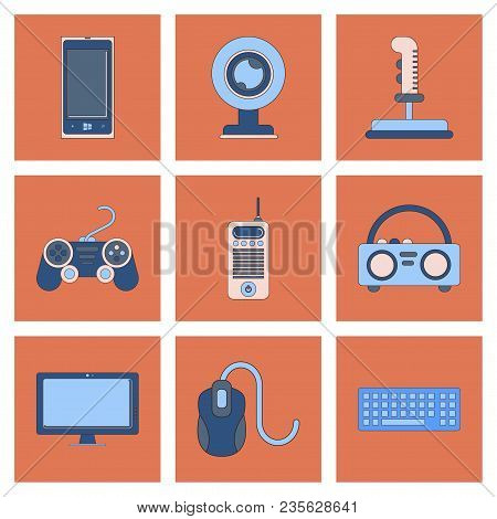 assembly of flat icon technology computer joystick Webcam mobile phone keyboard mouse monitor poster