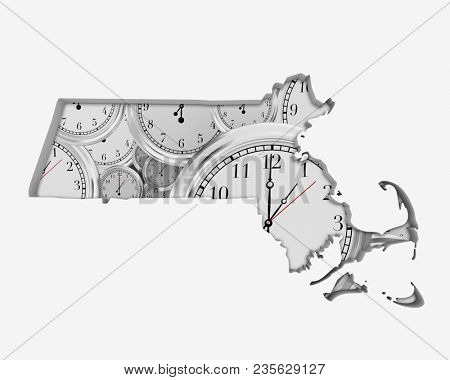 Massachusetts MA Skyline City Metropolitan Area Nightlife 3d Illustration