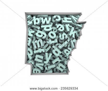 Arkansas AR Letters Map Education Reading Writing Schools 3d Illustration