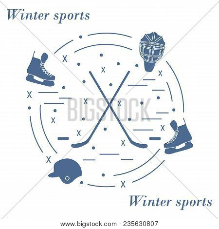 Vector Illustration Of Various Subjects For Hockey Arranged In A Circle. Including Icons Of Helmet,