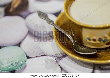 A Cup Of Morning Invigorating Aromatic Coffee With Foam And Chocolate.