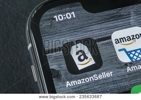 Sankt-petersburg, Russia, April 11, 2018: Amazon Seller Application Icon On Apple Iphone X Screen Cl