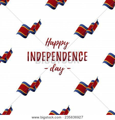Banner Or Poster Of Swaziland Independence Day Celebration. Seamless Pattern With Waving Flag. Swazi